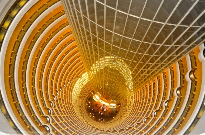 Looking down into the lobby of the Jin Mao Tower. This turned out to be the best view of the day.