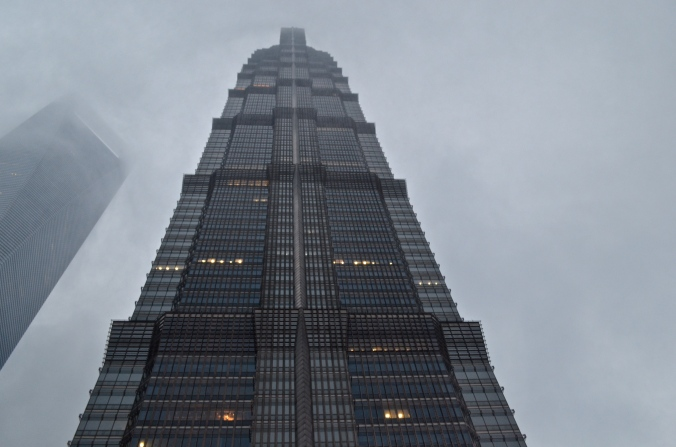 The 88-story Jin Mao Tower is located next to the (left) Shanghai World Financial Center.
