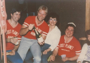 Doug (far left) with dad (far right).