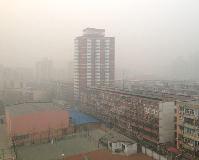 The view from my ninth-floor apartment on Jan. 12, when the pollution index reached 845.