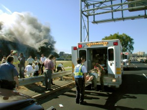 Victims of the Sept. 11 terrorist attack on the Pentagon are loaded into an ambulance.