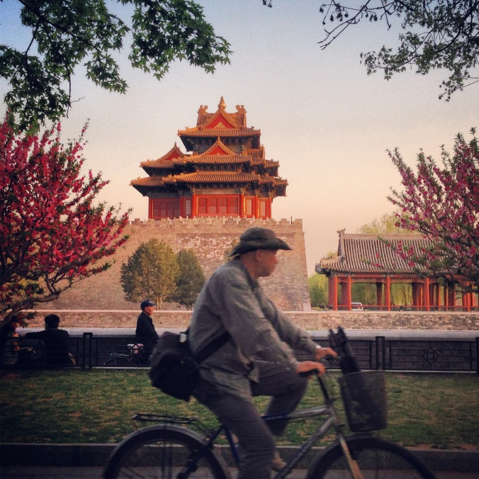 A man on a bike passes one of the Forbidden City's towers.