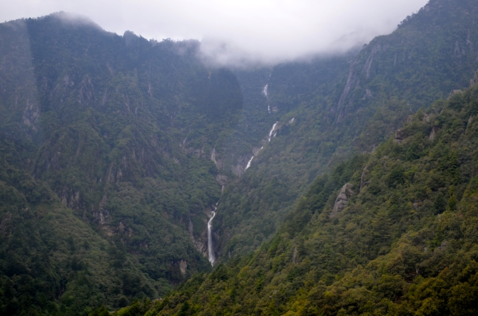 A waterfall on Cangshan Mountain.
