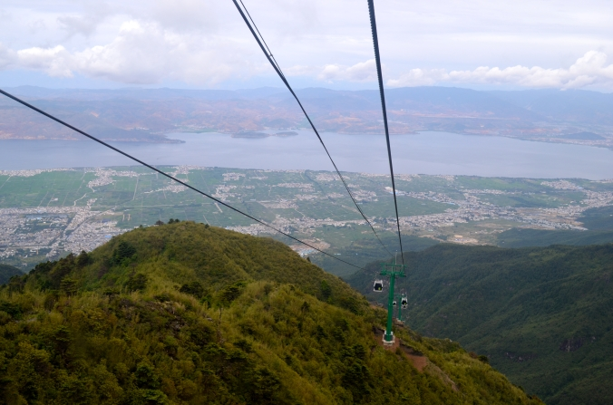 I rode to the top of Cangshan in an enclosed cable car.