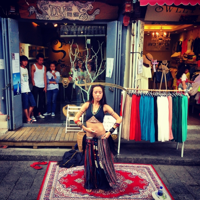 A belly dancer performs in Dali Old Town.