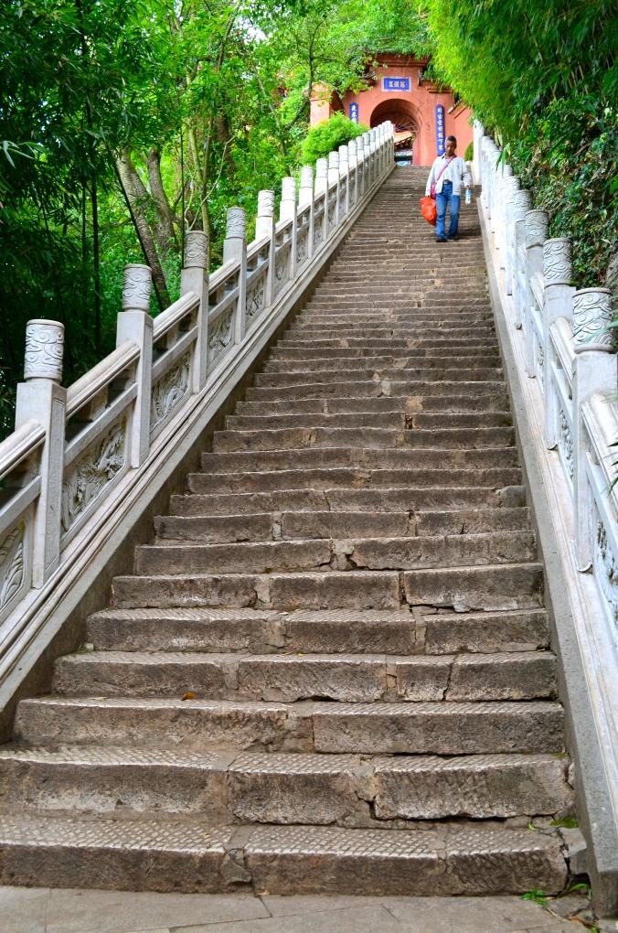 One of the long, steep climbs on Xishan mountain.