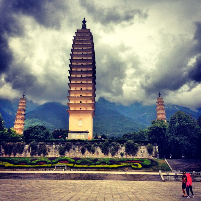 The tallest of the Three Pagodas is 70 meters high.