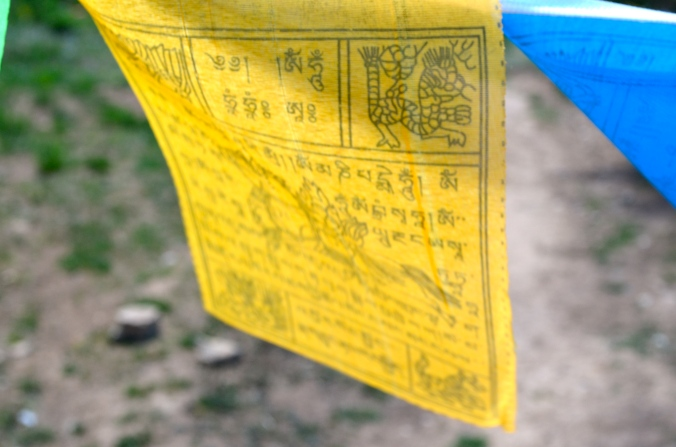 Closeup of a prayer flag.