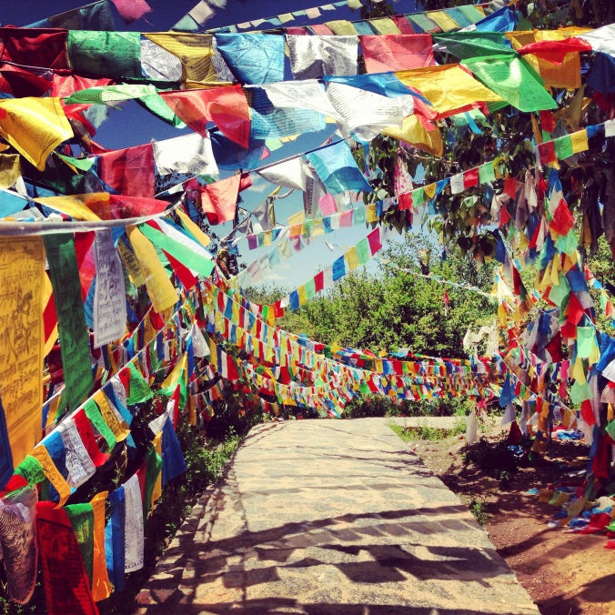 Prayer flags outside a temple.
