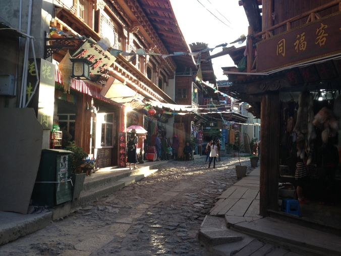 The narrow streets in Dukezong made it difficult for firefighters to maneuver inside the town.