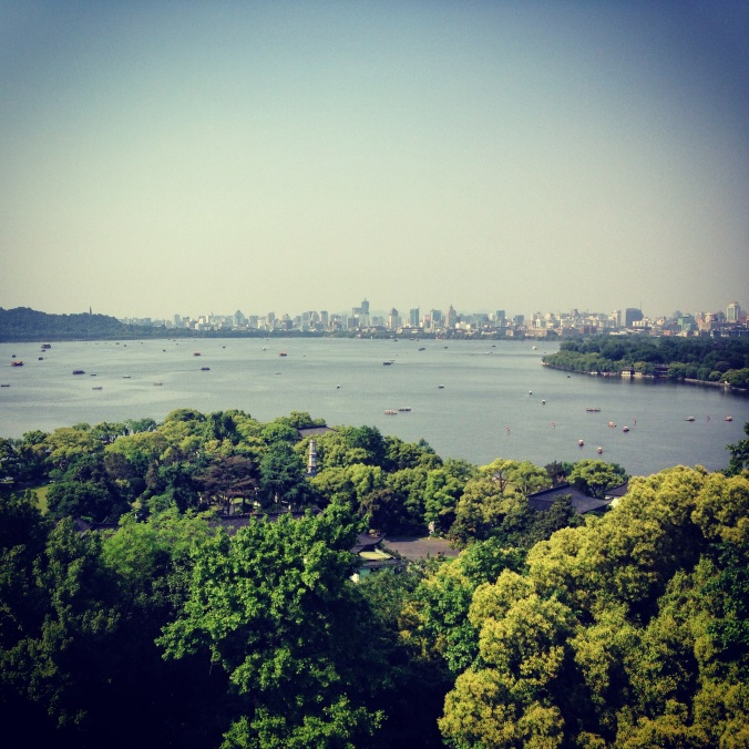View of Xihu and downtown Hangzhou from Leifeng Pagoda.