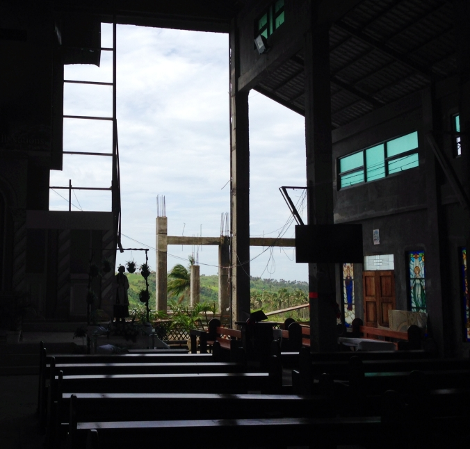 The inside of a church under construction near Tagaytay.