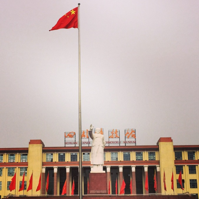 A statue of Chairman Mao Zedong looks over Tianfu Square, in the center of Chengdu.
