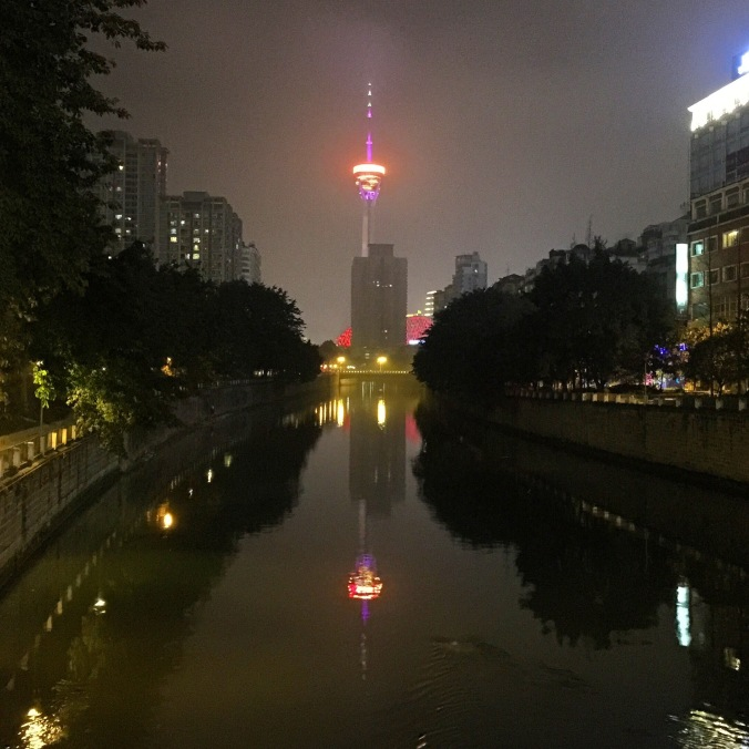 The city at night. With 14 million people, Chengdu is the largest city in Sichuan province.